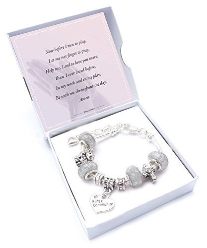 'Silver Sparkle' First Holy Communion Charm Bracelet with Poem,Gift Card and Gift Box