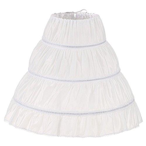 Noriviiq Kinder Reifrock A Linie 3 Ringe Petticoat Unterrock Mädchen Lang Prinzessin Kleid Halb...