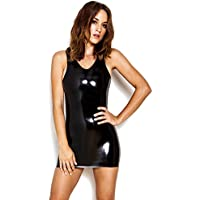 Raw Moulded Rubber Women's Dress Black Rubber with Scoop Neck & Back Sleeveless