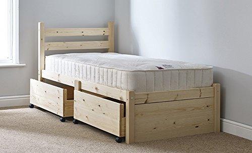 Struttura per letto singolo, in legno, con 2 ampi cassetti, 91 cm
