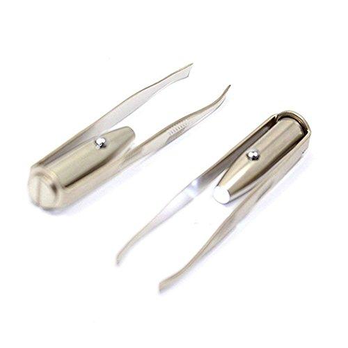 TOOGOO 2pcs LED lumiere sourcils epilation pince a epiler pinceaux en acier inoxydable maquillage cosmetique outil