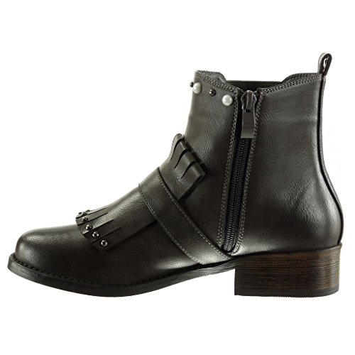 Angkorly Damen Schuhe Stiefeletten - Chelsea Boots - Biker - Reitstiefel - Kavalier - Fransen - Nieten - Besetzt - Perle Blockabsatz High Heel 3.5 cm Grau