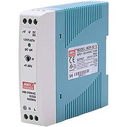 SODIAL MDR-20 12V 20W Din Fuente de Alimentación de Carril Ac/Dc Fuente de Alimentación Del Regulador de Voltaje Del Conductor 110V 220V