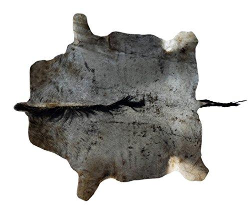 Zerimar Alfombra africana de piel de Ñu Azul Medidas: 155x140 cms 100% Natural Ideal para la decoración