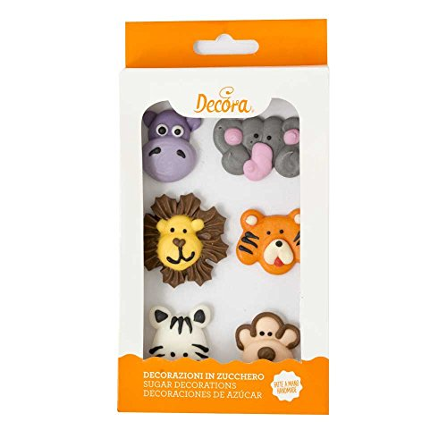 Decora Paquet 6 Animaux de la Jungle en Sucre 45 g - Lot de 2
