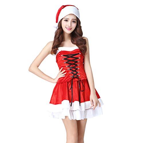BESTOYARD Weihnachtskleid Weihnachtsmann Kostüm Frauen mit Hut Erwachsenen Kneipentour Santa Outfit (Free Size)