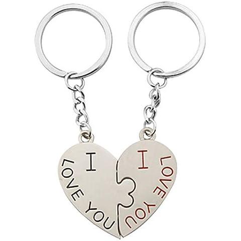 Amor Como I Usted Diseño pares de los pares llavero con colgante de corazón