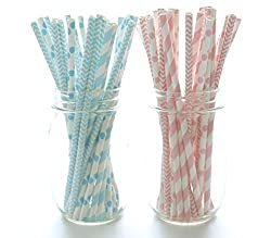 Boy/Girl Baby Shower Straws, Pink & Blue Paper Straws (50 Pack) - Twins or Unisex Straws, Barbershop Striped Straws, Baby Shower Party Favors