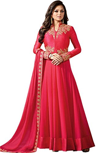 Ethnic Empire Women\'s Georgette Anarkali Semi-Stitched Salwar Suit (Ethnic_FlexER11039_Pink_Free Size)