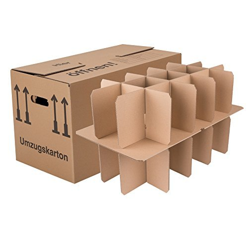 50 Gläserkartons mit 30/15 Fächern Flaschenkartons für Umzug Verpackung Umzugskartons thumbnail