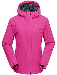 af356a664fb Wantdo Chaqueta para Mujer de Esquí de Montaña Contraviento con Capucha