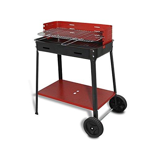 Artigian Ferro 503.r Barbecue à charbon de bois avec roues complet de grille, noir, 60 x 40 x 20 cm