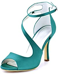 ElegantPark HP1505 Zapatos de tacón Punta abierta Rhinestones raso fiesta zapatos de novia Mujer