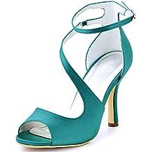 9686db58d2a3e ... Sandalias Color Turquesa. ElegantPark HP1505 Zapatos de tacón Punta  abierta Rhinestones raso fiesta zapatos de novia Mujer