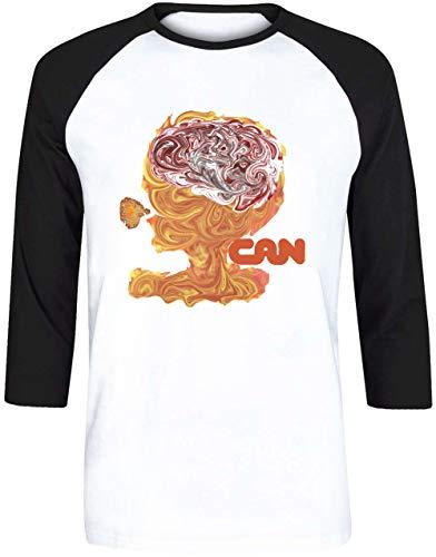 Can - TAGO Mago Herren Weiß Schwarz Baseball T-Shirt 3/4 Ärmel Größe XXL | Men's White Black Baseball T-Shirt Size XXL -