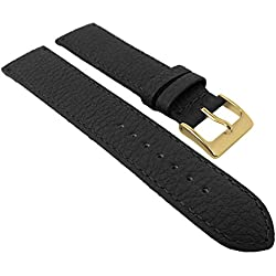 Herzog calf Leather watch strap strong | Replacement Tape 20 mm, 22 mm - Brown or Black, Colours: Black, Width: 20 mm, Clasp: Golden