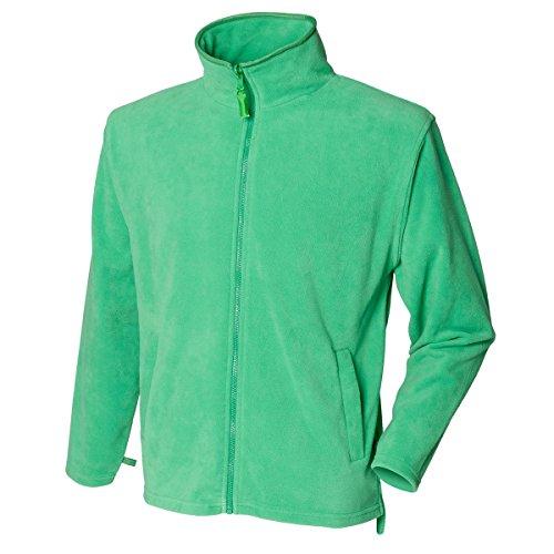 New hendury Pull en Micropolaire pour Femme Fermeture Éclair intégrale Coque Casual Polyester Vestes Haut - Vert - XL