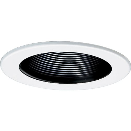 Progress Lighting P8044-31 Step Baffle Ic Trims with 360 Degree Positioning That Tilt 20 Degrees with 5-Inch Outside Diameter, Black by Progress Lighting - Black Baffle Step