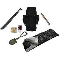 Wanderausrüstungsset Survival-Kit, bestehend aus Schlafsack, Klappspaten, Machete, Micarta Messer und Notverpflegung