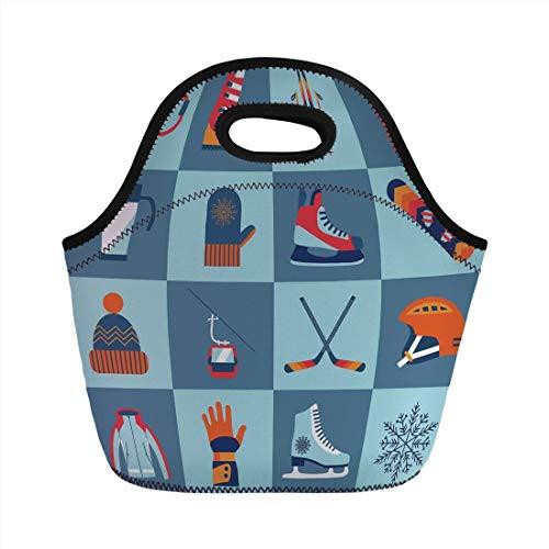 Jieaiuoo Portable Lunch Bag,Kids,Ice Skating Winter Sports Skiing Boot Cap Glasses Glove Helmet Skates Snowboard Print,for Kids Adult Thermal Insulated Tote Bags (Helmet Bag Boot Snowboard)