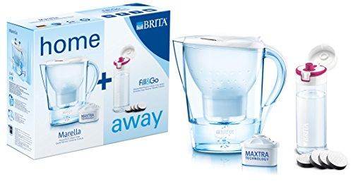BRITA Home&Away - Caraffa filtrante per acqua Marella Cold + borraccia con Filtro dell'acqua Fill&Go, 0,6 litri bianco