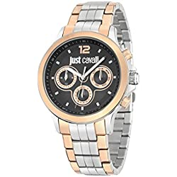 Just Cavalli Just Iron Men's Quartz Watch with Black Dial Analogue Display and Silver Stainless Steel Strap R7253596001