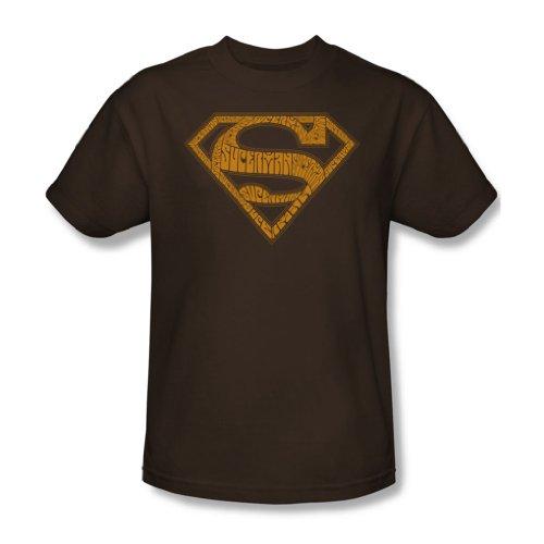 Superman - Typ 60S Shield - Erwachsene Kaffee Kurzarm T-Shirt für Männer Coffee