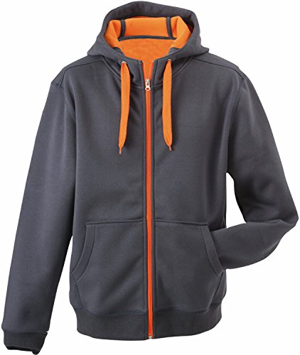 James & Nicholson - Kapuzen Sweatjacke 'Mens Doubleface Jacket' Carbon/Orange,XXXL
