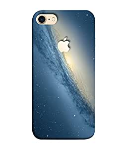 PrintVisa Designer Back Case Cover for Apple iPhone 7 (Logo View Window Case) (Star Universe Galaxy Dotted Printed Sky Mid Night)