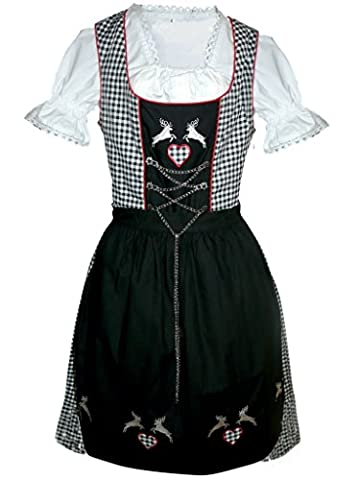 Di18sw Midi Dirndl, 3 teiliges Trachtenkleid schwarz weiß kariert, Kleid mit Bluse und Schürze, Gr. 36