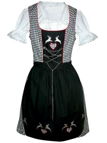 Di18sw Midi Dirndl, 3 teiliges Trachtenkleid schwarz weiß kariert, Kleid mit Bluse und Schürze, Gr. (Für Männer Der Schweiz Trachten)