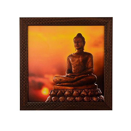 eCraftIndia 'Meditating Buddha' Satin Matt Texture Framed UV Art Painting (Synthetic Wood, 30.5 cm x 1.3 cm x 30.5 cm)