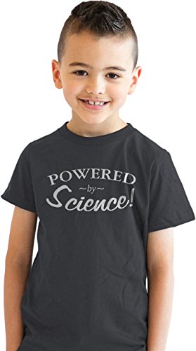 Crazy Dog Tshirts Youth Powered by Science Tshirt Funny Nerdy Scientific Tee for Kids (Charcoal) L - Jungen - L (T-shirt College-student-mädchen)