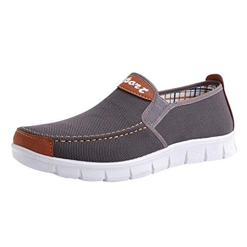 SOMESUN Herren Freizeit Espadrilles Männer Jungen Einfarbig Elastisch Segeltuchschuhe Leichtgewicht Canvas Schuhe Weich Gemütlich Atmungsaktiv Rutschfest Beiläufig Schuhe (EU40/CN41, Grau)