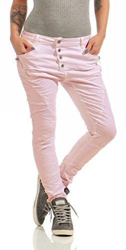Fashion4Young 11424 LEXXURY Damen Jeans Röhrenjeans Hose Boyfriend Baggy Haremscut Damenjeans Slim-Fit (Altrosa, S-36)