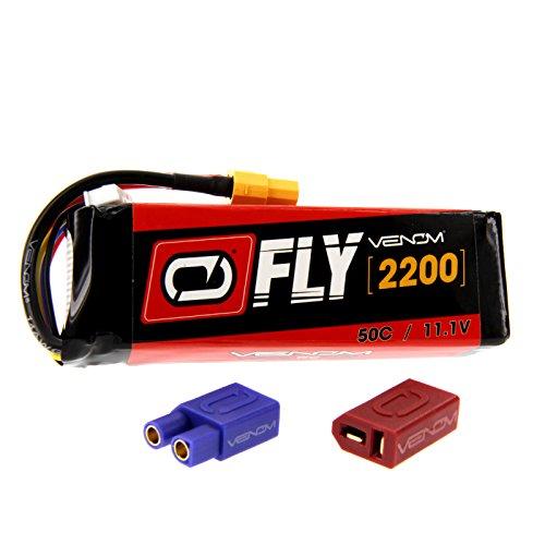 Venom Fly 50C 3S 2200mAh 11.1V LiPo Battery with UNI 2.0 Plug (XT60/Deans/EC3) - Compare to E-flite EFLB22003S50