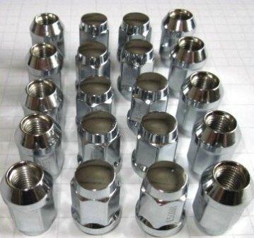 Chrom-Radmuttern-Set mit Kegelbundaufnahme für 5 Loch Felgen, Set enthält 20 Stück der Chrom-Radmuttern M12x1,5x34