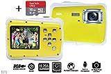 Vetté Digitalkamera Für Kinder mit 16GB MicroSD Speicherkarte - Kinderkamera wasserdicht - 4 Fach Digitalzoom, 12MP, 720P HD Videofunktion, TFT LCD Bildschirm - Das Beste Kindergeschenk (weiß gelb)