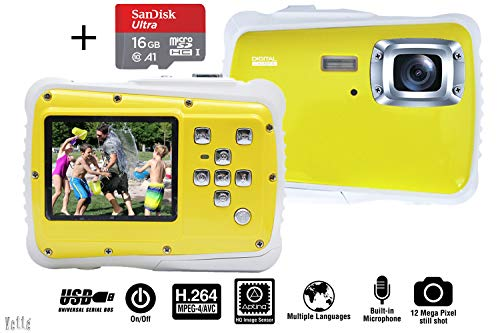 Vetté Digitalkamera Für Kinder mit 16GB MicroSD Speicherkarte - Kinderkamera wasserdicht - 4 Fach Digitalzoom, 12MP, 720P HD Videofunktion, TFT LCD Bildschirm Kindergeschenk (weiß gelb)
