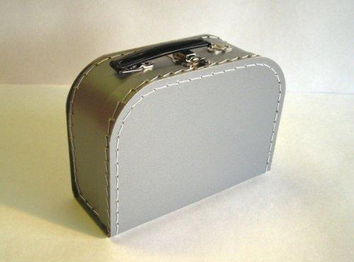 Koffer Pappe, silber, grau, mittel, 20cm, Pappkoffer