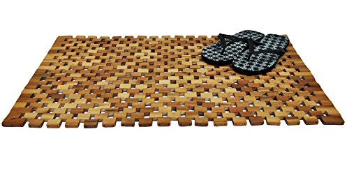 konsi-shop Duschvorleger Holz 80x50 Akazien Badvorleger Vorleger Holzmatte Duschmatte