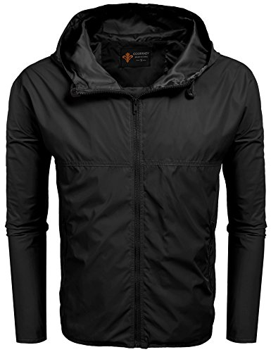 Coofandy Mens Lightweight Hooded Raincoat Full Zip Solid Outdoor Casual Rain Jacket