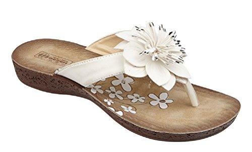 Koo-T ,  Damen Sandalen mit Zehensteg Weiß