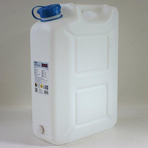 Wasserkanister PROFI 22 Liter mit Aufbewahrungsmöglichkeit für Ablass-Hahn und Schraubstopfen in HD-PE