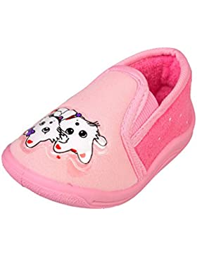 GIBRA® Hausschuhe für Kinder, Art. 3716, mit Gummizug, rosa, Gr. 20-27