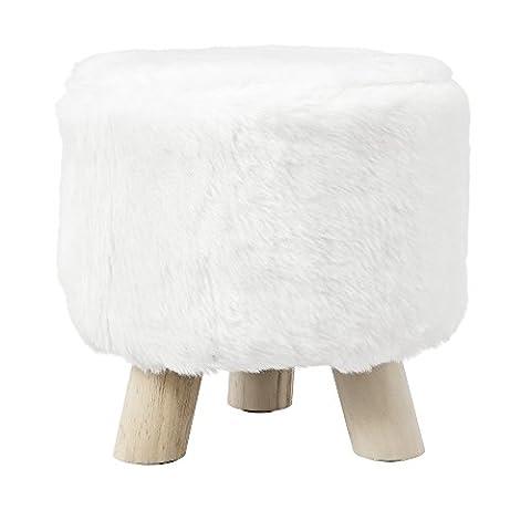 [en.casa] Tabouret de style incl assise fausse fourrure blanc avec pieds du bois