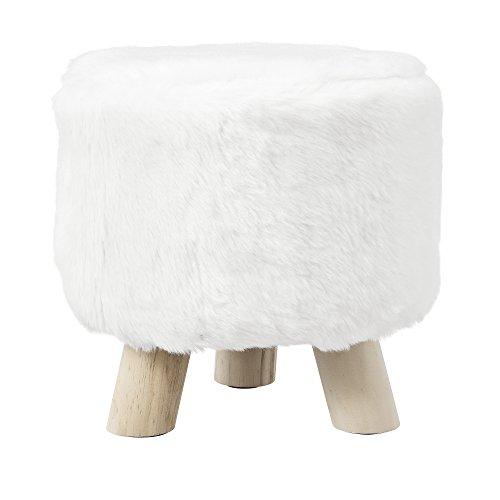 [en.casa] Stylischer Hocker inkl Sitzfläche aus Kunstfell weiß mit Holzbeinen
