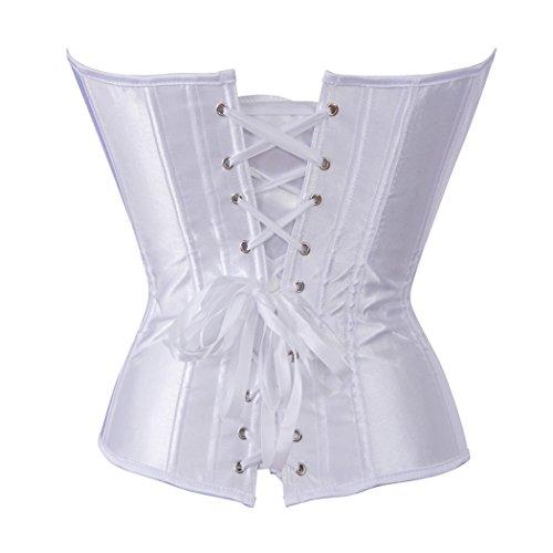 Women's Satin Plain Overbust Corset Waist Training Bustier Pure Color Plus Size White
