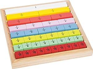 small foot company- Educate Barritas de Madera para Aprender a calcular adecuadas para niños, Practicar Las fracciones Juguetes, Multicolor (Small Foot by Legler 11166)