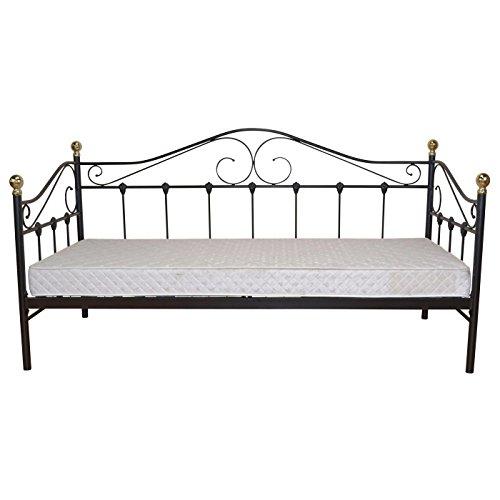 Mendler Bett H163, Gästebett Day Bed, Metall pulverbeschichtet, mit Lattenrost ~ schwarz